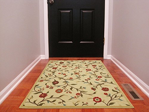 Ottomanson Ottohome Collection Floral Garden Design Modern Area Rug with Non-Skid (Non-Slip) Rubber Backing, Beige, 3