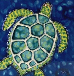 - Sea Turtle Decorative Ceramic Wall Art Tile 4x4