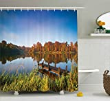 Fishing Themed Shower Curtains Ambesonne Scenery Decor Shower Curtain, Lake View Fishing Countryside Themed with Trees and Long Reeds Art Photo, Fabric Bathroom Decor Set with Hooks, 84 Inches Extra Long, Multicolor