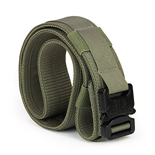 Aiduy Tactical Belt Heavy Duty Waist Belt Adjustable Military Style Nylon Belts with Metal Buckle Molle System 1.5″