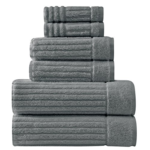 Luxury Bath Towel Collection Set - Ultra Absorbent and Plush Complete Towel Set With Unique Ribbed Design - Made with 100% Cotton (Grey) (Plush Bath Towels)