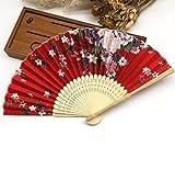 Red 1Pc Summer Style Folding Hand Held Fan Fabric Floral Wedding Dance Favor Pocket Fan