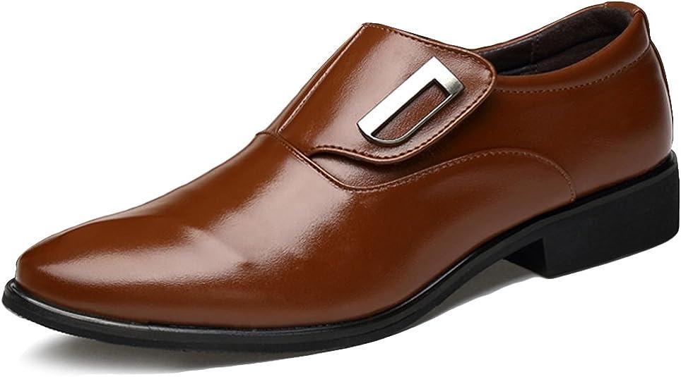 Poplover Hombre Zapatos De Vestir Planos Oxford Zapatos de Cuero Sin Cordones 39-48
