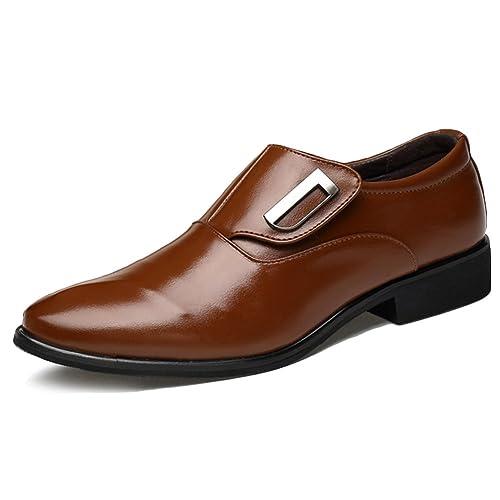 20b7ceed Poplover Hombre Zapatos De Vestir Planos Oxford Zapatos de Cuero Sin  Cordones 39-48: Amazon.es: Zapatos y complementos