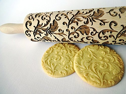 ROYAL Rolling pin. Wooden engraved rolling pin with classic flowers. Embossed cookies. Pottery. Birthday gift. Gift for mother. Bridal shower gift ()