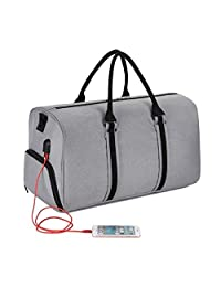 """Gym Bags 36L Sports Duffels Bag Waterproof Travel Luggage Bags with Shoes Compartment for 17"""" Laptop Come with a Phone Sticker (Gray)"""