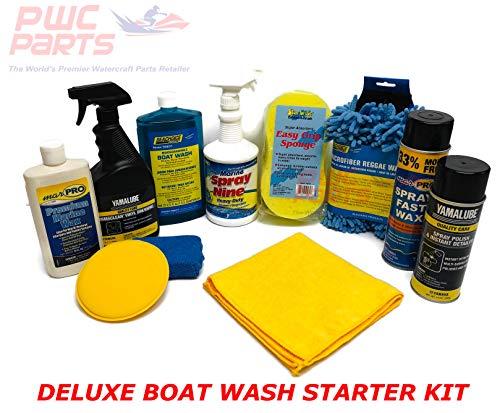 SENECA Marine Deluxe Boat Wash Cleaning Detailing Washing Maintenance Starter Kit w Premium Marine Wax, Applicator Pads, Vinyl Dressing, Sponge, Microfiber Mitt, Spray Polish