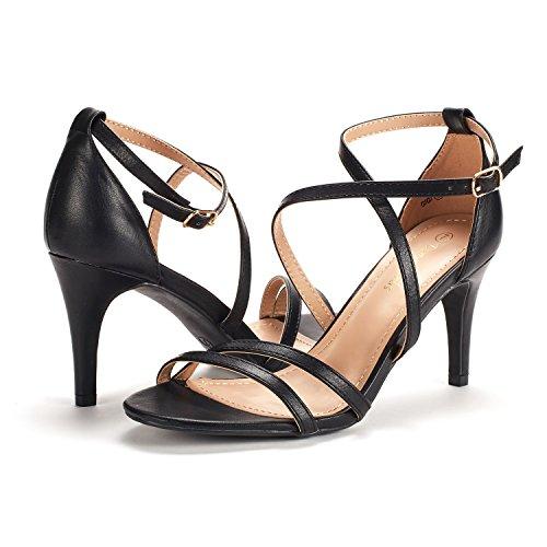DREAM PAIRS Women's Gigi Black Pu Fashion Stilettos Open Toe Pump Heeled Sandals Size 8 B(M) US by DREAM PAIRS (Image #3)