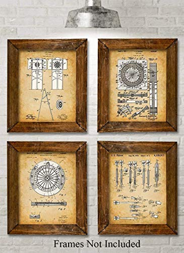 Original Darts Patent Prints - Set of Four Photos (8x10) Unframed - Makes a Great Gift Under $20 for Game Rooms, Man Caves, Home Bar Pub Decor