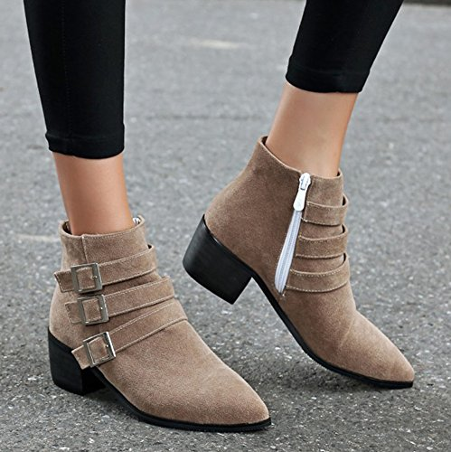 Stacked Shoes Medium Side Fashion Heels Toe Dress Zipper Aisun Booties Pointed Womens Apricot 0ZfPqP