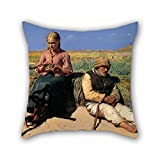 slimmingpiggy The oil painting Michael Ancher - Figures in a landscape. Blind Kristian and Tine among the dunes pillowcover of ,18 x 18 inches / 45 by 45 cm decoration,gift for deck chair,christmas,