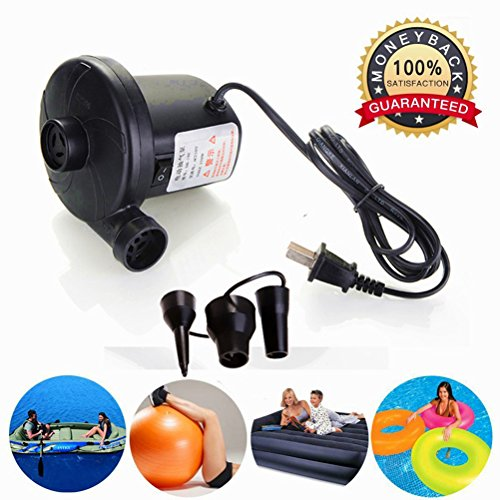 Pump Fill Electric Inflation 120vac (Electric Air Pump for Inflatable Floats,Portable Deflating Air Mattress Pump to Blow Up Bed Pool Toy Raft Deflates Inflates 110-120 Volt,Ac Quick-fill Inflator Deflator, Electrical Air Bed Pump)