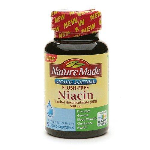 Nature Made Flush-Free Niacin, 500mg, Liquid Softgels 60 ea