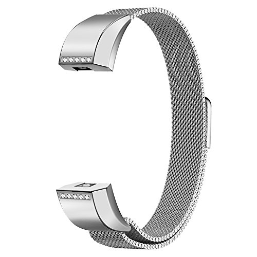 Oitom for Fitbit Alta HR Accessory Bands and Fitbit Alta Band, (2 Size) Large 6.7''-9.3'' Small 5.1''-6.7'' (8 Color) Silver Black Rose Gold Pink Blue Brown Rainbow (Silver+Clear Diamond, Small 5.1''-6.7'') by Oitom