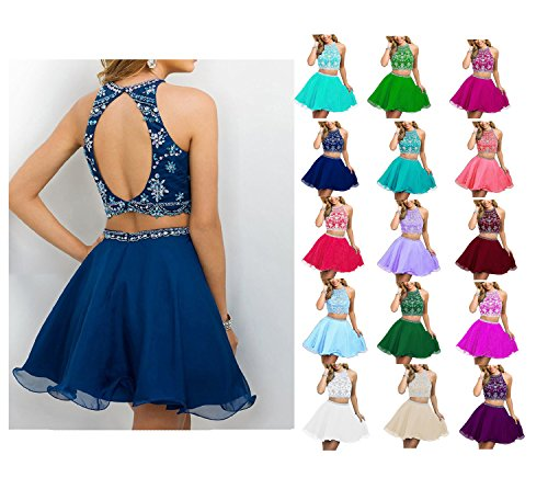Prom Dresses Women's Beaded Short Mini Dress Blue Sky Rhinestone Two Piece Homecoming HEAR Chiffon WWW666 qctARSx