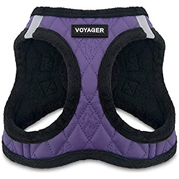 Voyager Step-In Plush Dog Harness - Soft Plush, Step in Vest Harness for Small & Medium Dogs by Best Pet Supplies, Inc., Inc. - Purple Faux Leather, X-Large (Chest: 21