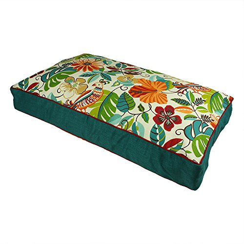 XL Indoor Outdoor Red Blue Green Floral Pattern Dog Bed, Paisley Rectangle Pet Bedding, Jungle Bold Print, Features Water Mildew Fade Resistant, Removable Cover, Stylish, Polyester by N2
