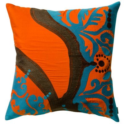 Koko Coptic Applique and Embroidered Cotton Pillow, 18 by 18-Inch, Orange ()