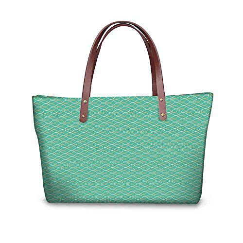 Custom Handbag Tote Shopping Bags Modern,Geometrical Line Art Pale Color Palette Oval Shapes Optical Illusion Pattern,Teal White Gold Printing Tote Bag Crossbody