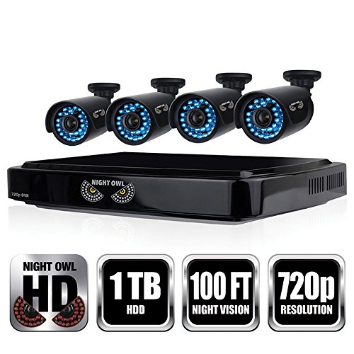 Night Owl Security 8 Channel Smart HD Video Security System with 1 TB HDD and 4 x 720p HD Cameras