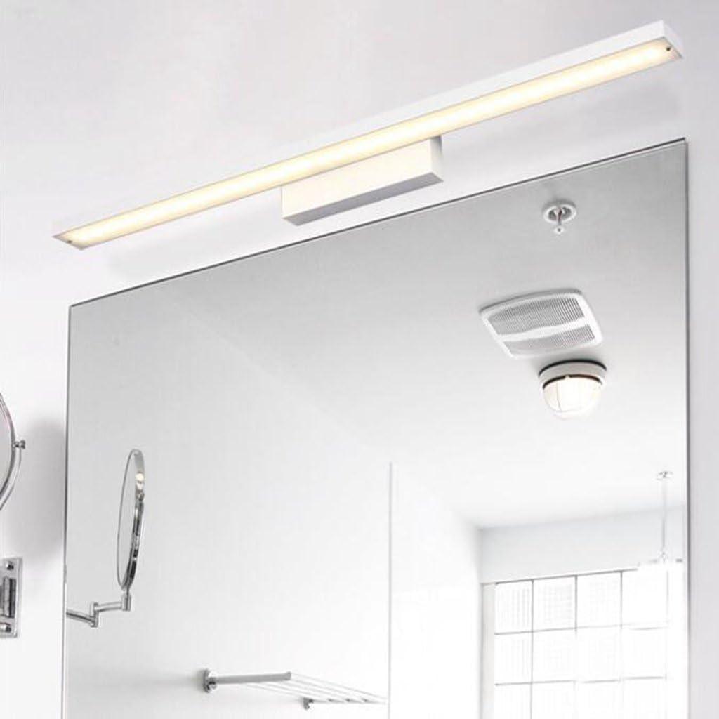 BiuTeFang led blanco cálido espejo delantero impermeable humedad baño baño moderno simple baño aluminio espejo (color: blanco) 80cm 16W: Amazon.es: Iluminación