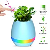 Music Flower Pot for Office,Home and Bedroom with Wireless Bluetooth Speaker,Night Light Smart USB Charger Cute Plant Pot with Multi-Color LED Lights(No Plant)(Blue)
