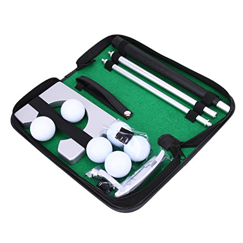 Alloet Executive Gift Portable Travel Indoor Golf Putting Practice Kit Ball Hole-Cup Putter Training Set