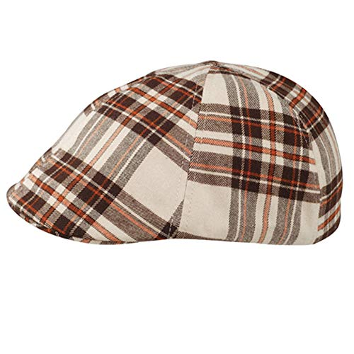 Khaki Brown Plaid Soft Winter Ivy Ascot Cabbie Golf Cap