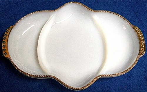 Fire King Milk Glass Vintage Relish Tray with Gold Trim - Gold Trim Relish