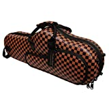 MUSIC FIRST Brown Plaid Faux Leather Hard Alto Saxophone Sax Bags & Cases