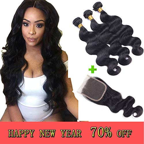 - Brazilian Virgin Body Wave Bundles with Free Part Closure,8A 100% Unprocessed Human Hair Bundles with Full Lace Closure,Natural Color (14 16 18with14)