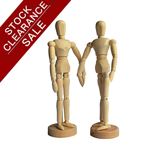 Drawing Art Figure Mannequin Manikin Wooden Model for Sketching Charcoal Kids Children posable Educational Toys Home Office Desk Decoration 8''Couple Set by Heritage Arts