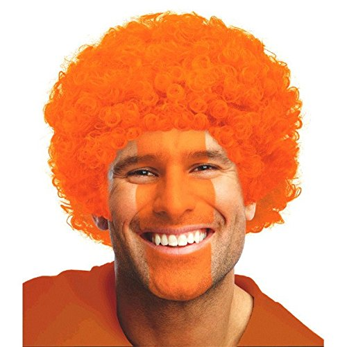 Curly Afro Wig Costume Party Headwear, Orange, Fiber, 11