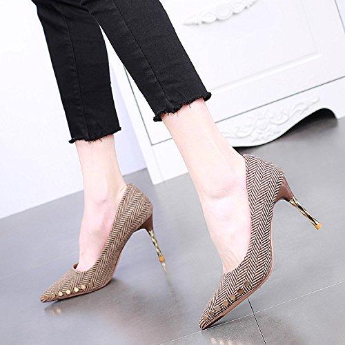 SSBY Sharp 9 Cm Zapatos De Tacon Alto Metal Tacon Delgado Superficial Sexy Remache Sola Maquina Chica brown