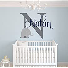 Custom Elephant Name Wall Decal for Boys - Baby Boys Room Decor - Nursery Wall Decals - Elephant Wall Art (30Wx22H) by Lovely Decals World