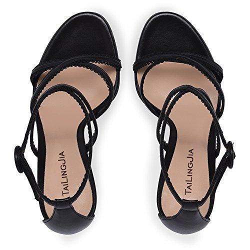 L@YC Frauen High Heels Handmade Sandalen Pumps Schnalle Slingback Slip on Schuhe/Große Größe/Party Prom Black