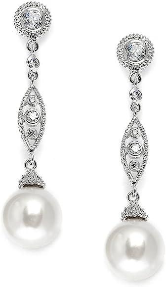 PLATINUM SILVER DIAMOND SET WHITE SAPPHIRE BEZEL DECO DESIGN STUD EARRINGS GIFT