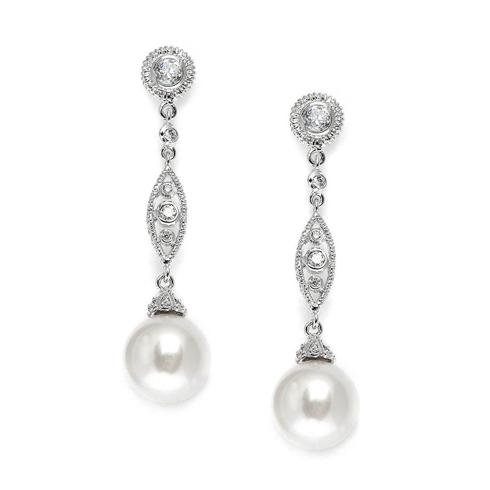 Mariell Vintage Wedding Pearl and CZ Dangle Bridal Earrings - Filigree Art Deco Gatsby Style Pearl Drops