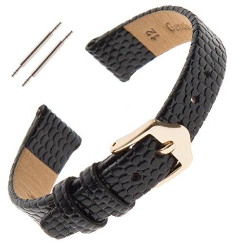 Gilden 10-14mm Ladies Flat Lizard-Grain Calfskin Leather Watch Strap F40 (14 Millimeter end Width, Black, Gold-Tone Buckle)