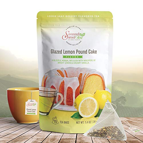 Glazed Lemon Pound Cake Dessert Flavored Tea Bags (15-Count) Green Rooibos | Infused with Vanilla, Cinnamon and Ginger | Caffeine Free, Non-GMO | Glazed Lemon Loaf