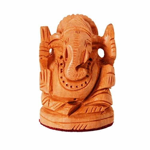 Hand Carved Fine Wood - Purpledip Small Wooden Idol Lord Ganesha (Ganapathi, Ganesh) For Table Top, Home Temple, Car Dashboard; Fine Hand-carved Kadam Wood Statue (11261)