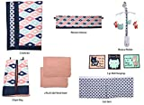 Bacati - Emma Aztec Coral/Mint/Navy 10 pc Crib Set with 2 crib sheets