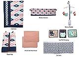 Bacati - Emma Aztec Coral/Mint/Navy 10 pc Crib Set with 2 crib sheets