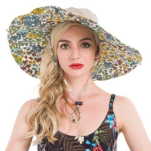 Wide Brimmed Hat Sun (Lenikis Women's UPF50+ Reversible Sun Hat Wide brimmed UV Protection Hat Foldable Beach Hats Khaki)