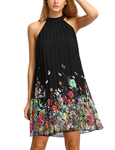 YIHUAN Women's Halter Neck Sleeveless Floral Print Casual Chiffon Shift Dress (Sleeveless Halter Dress Shift)