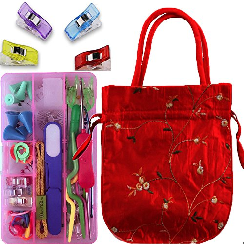 Knitting Crochet Sewing Accessories Supplies Tool Kit Set Cable Needles with Storage Case and Knitting bag