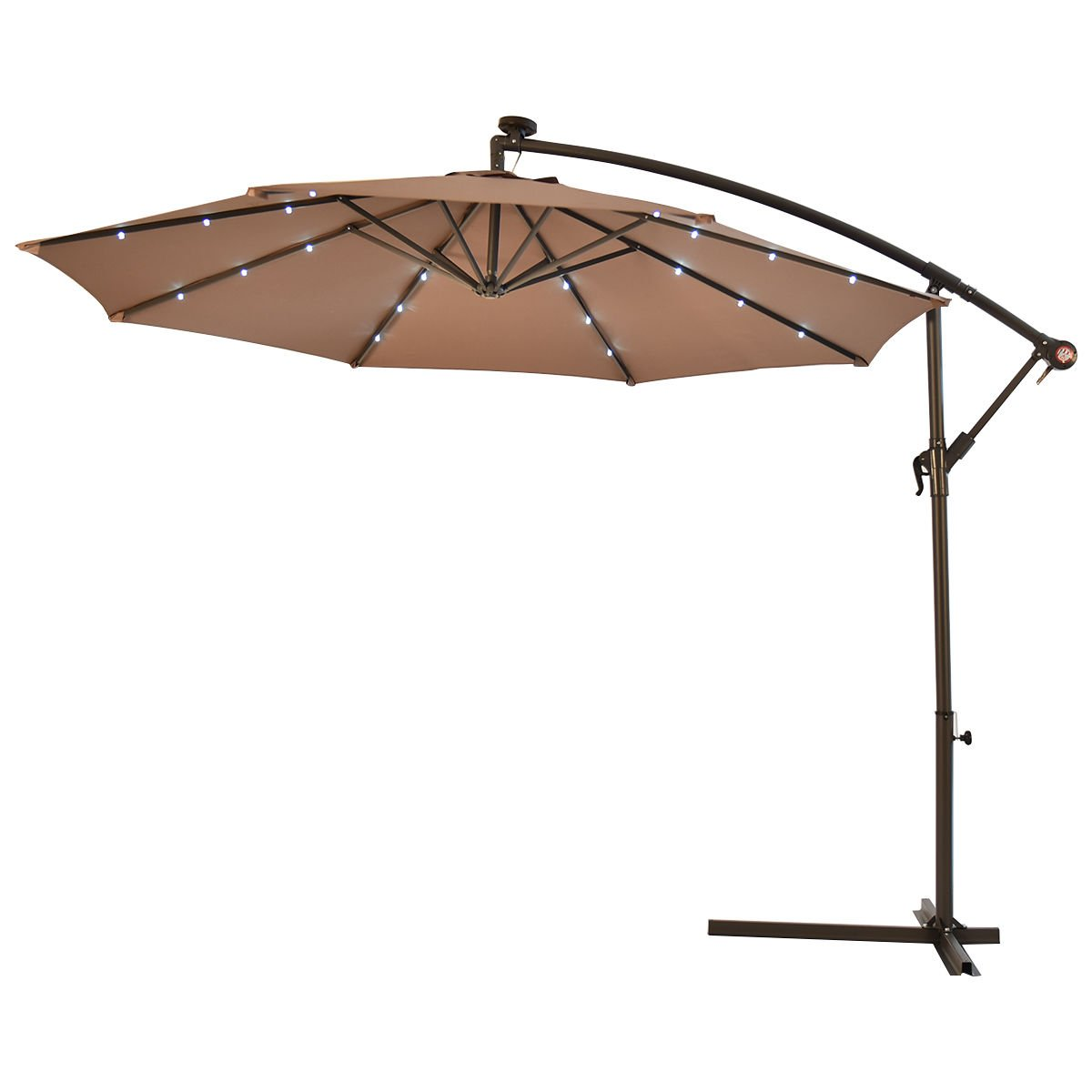 10' Hanging Solar LED Umbrella Patio Sun Shade Offset Market W/Base Tan by Unknown