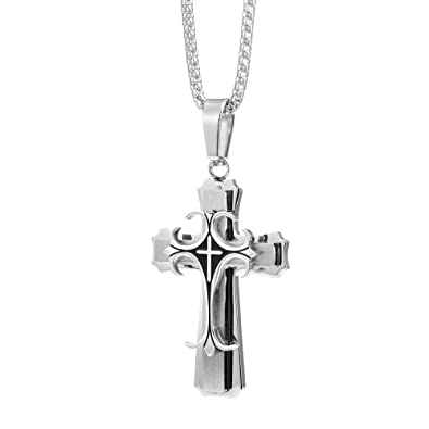 Amazon mens medieval stainless steel cross pendant necklace mens medieval stainless steel cross pendant necklace with box chain aloadofball Images