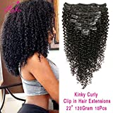 """Brazilian Virgin Hair 3C 4A Kinkys Curly Clip In Human Hair Extensions Kinky Curly Clip ins Remy Hair For Black Women Natural Color Double Wefts Hair 10Pcs 120Gram Fabc Hair(22"""")"""