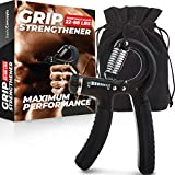 Grip Strength Trainer (Increase Strength), Adjustable Hand Grip Strengthener, Forearm Exerciser for Peak Performance, Finger Strengthener Trainer (11 to 88 LB), Wrist Forearm Grip Workout and Squeezer